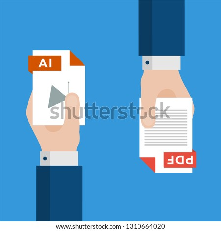 Two Businessmen Hands Exchange Different Types of Files. AI Convert to PDF. File Format Conversion. Flat Icons. Vector Illustration