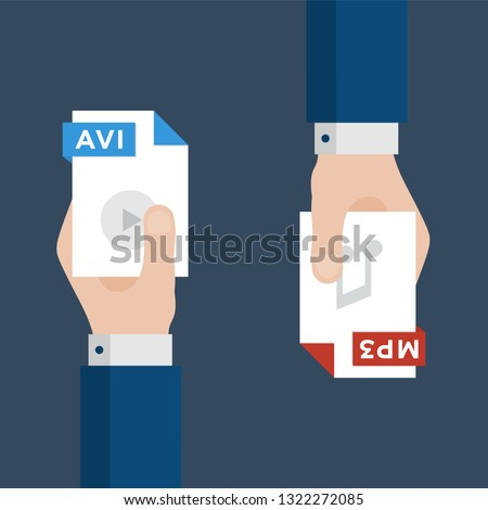 Two Businessmen Hands Exchange Different Types of Files. AVI Convert to MP3. File Format Conversion. Flat Icons. Vector Illustration