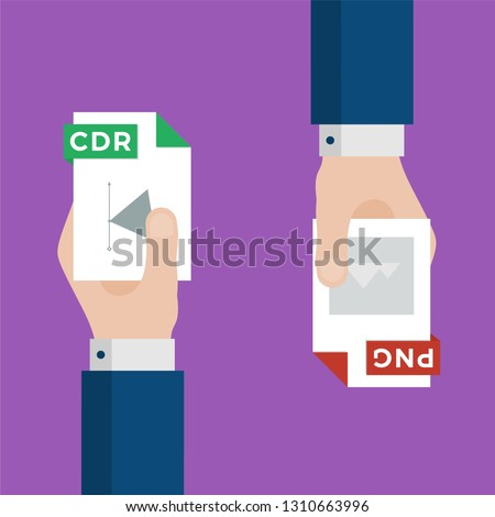 Two Businessmen Hands Exchange Different Types of Files. CDR Convert to PNG. File Format Conversion. Flat Icons. Vector Illustration