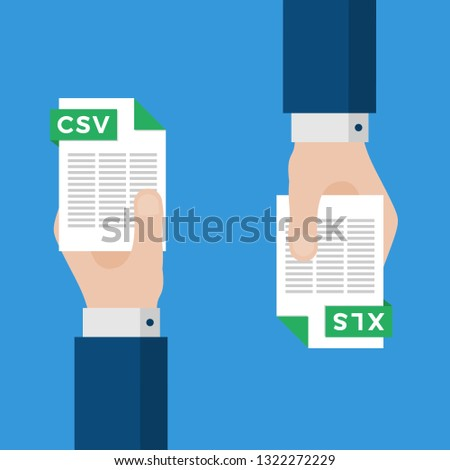 Two Businessmen Hands Exchange Different Types of Files. CSV Convert to XLS. File Format Conversion. Flat Icons. Vector Illustration