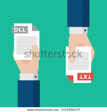 Two Businessmen Hands Exchange Different Types of Files. DLL Convert to TXT. File Format Conversion. Flat Icons. Vector Illustration