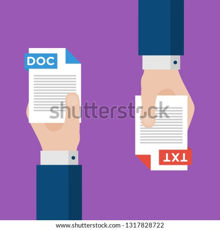 Two Businessmen Hands Exchange Different Types of Files. DOC Convert to TXT. File Format Conversion. Flat Icons. Vector Illustration