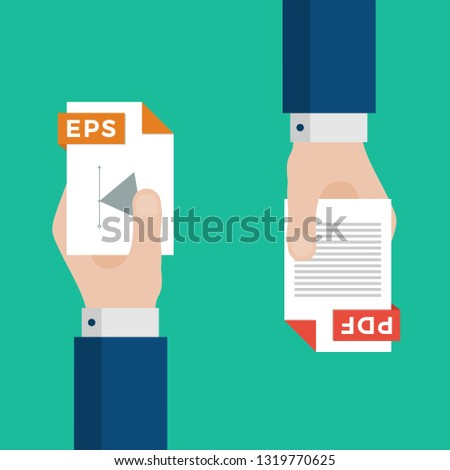 Two Businessmen Hands Exchange Different Types of Files. EPS Convert to PDF. File Format Conversion. Flat Icons. Vector Illustration