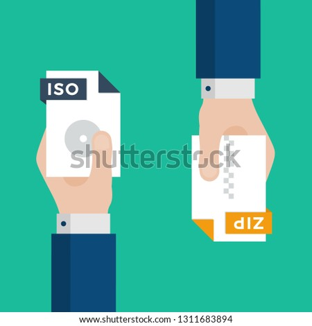 Two Businessmen Hands Exchange Different Types of Files. ISO Convert to ZIP. File Format Conversion. Flat Icons. Vector Illustration