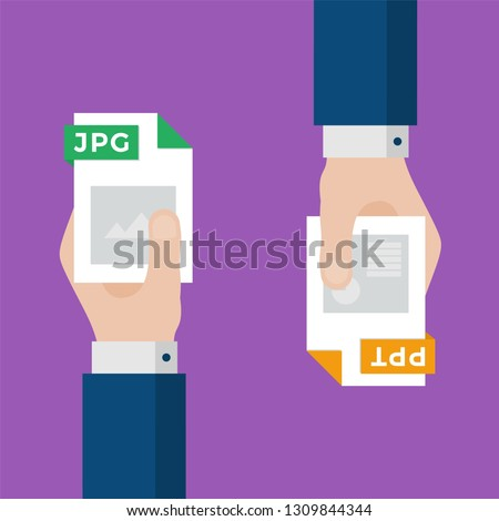 Two Businessmen Hands Exchange Different Types of Files. JPG Convert to PPT. File Format Conversion. Flat Icons. Vector Illustration