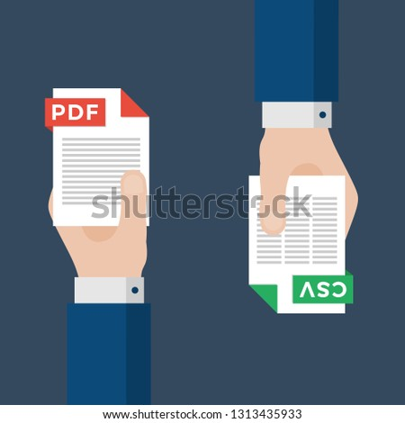 Two Businessmen Hands Exchange Different Types of Files. PDF Convert to CSV. File Format Conversion. Flat Icons. Vector Illustration