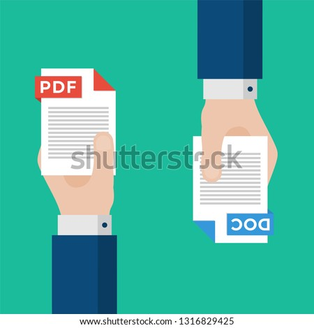 Two Businessmen Hands Exchange Different Types of Files. PDF Convert to DOC. File Format Conversion. Flat Icons. Vector Illustration