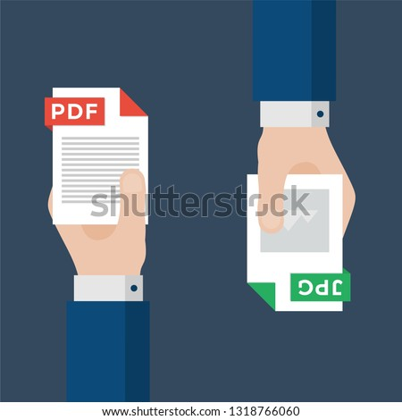 Two Businessmen Hands Exchange Different Types of Files. PDF Convert to JPG. File Format Conversion. Flat Icons. Vector Illustration