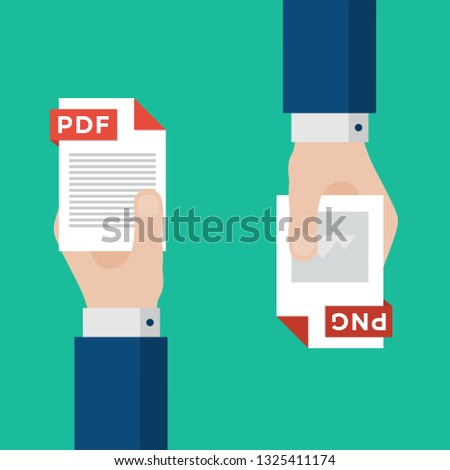 Two Businessmen Hands Exchange Different Types of Files. PDF Convert to PNG. File Format Conversion. Flat Icons. Vector Illustration
