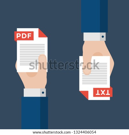 Two Businessmen Hands Exchange Different Types of Files. PDF Convert to TXT. File Format Conversion. Flat Icons. Vector Illustration