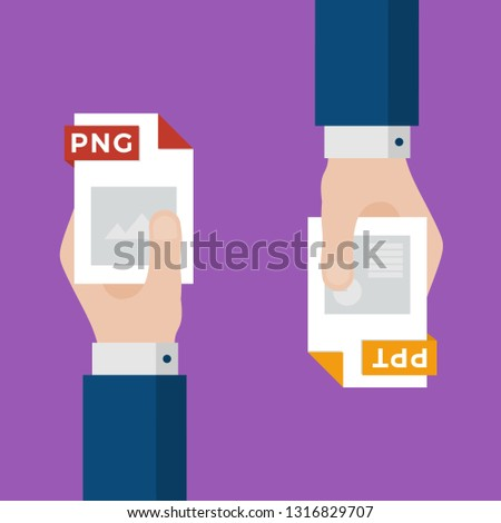 Two Businessmen Hands Exchange Different Types of Files. PNG Convert to PPT. File Format Conversion. Flat Icons. Vector Illustration