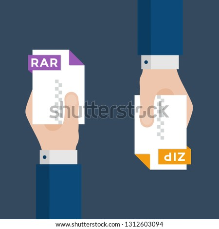 Two Businessmen Hands Exchange Different Types of Files. RAR Convert to ZIP.  File Format Conversion. Flat Icons. Vector Illustration