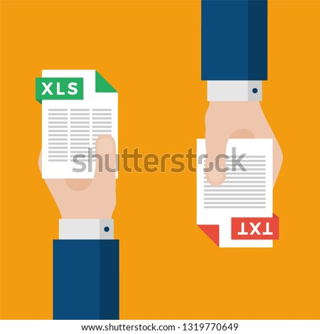 Two Businessmen Hands Exchange Different Types of Files. XLS Convert to TXT. File Format Conversion. Flat Icons. Vector Illustration