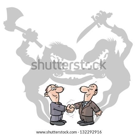 Two Businessmen handshaking with ulterior motives.
