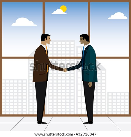 two businessmen or executives handshake for partnership - vector graphic. this also represents business deals, corporate alliances, mergers and acquisitions, formal hand shakes, respect, friendship