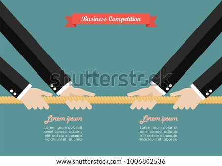 Two Businessmen pull the rope competition. Business market competition