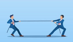 Two Businessmen Pulling Opposite Ends of Rope, Business Competition concept, Rivalry Between Colleagues. Business people. competition, conflict. Tug of war. Vector illustration in flat style.