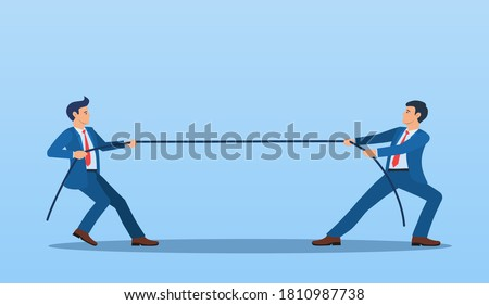 Two Businessmen Pulling Opposite Ends of Rope, Business Competition concept, Rivalry Between Colleagues. Business people. competition, conflict. Tug of war. Vector illustration in flat style. Photo stock ©