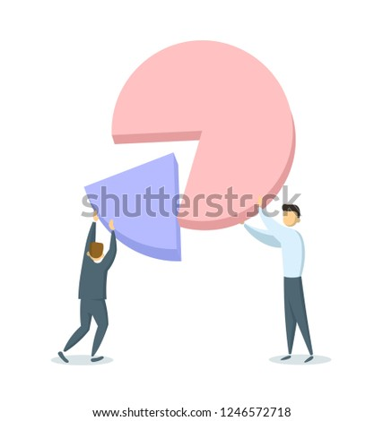 Two businessmen putting together portions of a pie chart. Profit sharing, successful partnerships, company shares ownership. Flat vector illustration. Isolated on white background.