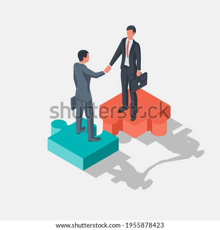 Two businessmen stand on pieces of puzzle as symbol of connection. Combining two alliances. Partnership concept. Business meeting. Handshake symbol successfu deal. Vector illustration isometric design Сток-фото ©