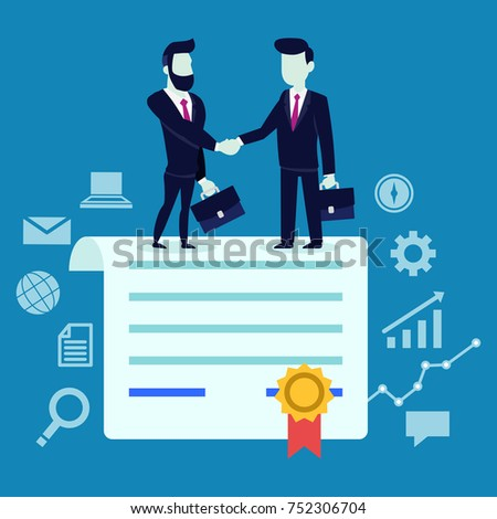 Two Businessmen standing and shake hands each other for cooperation and make a deal after sign contract.