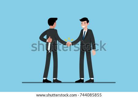 Two Businessmen standing and shake hands each other for cooperation and make a deal. But the first one is holding knife behind his back and ready to betrayal.