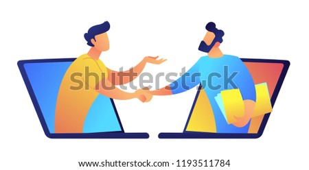 Two businessmen talk through laptop screens and shake hands. Online communication and business meeting, video communication technology and video call application concept. Isolated on white background.