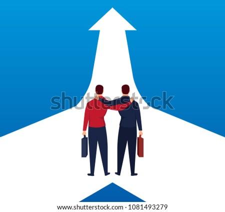 Two businessmen walk side by side to one arrow