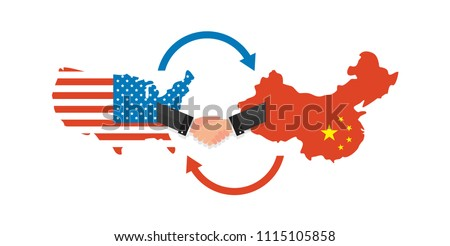 Two businesspeople handshake after good deal. US America and China flags on map. USA and China trade relations, cooperation strategy. vector illustration