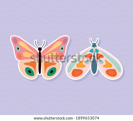 two butterflies hand drawn
