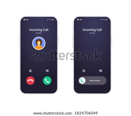 Two call screen on white mobile phone with answer button, avatar and status bar. Incoming call interface in modern flat style, ui mockup for your app or design.