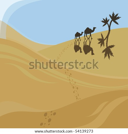 Two camels walking to oasis
