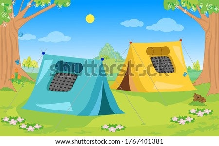 two camping tents in natural