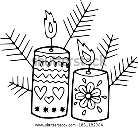 two candles and branches of a