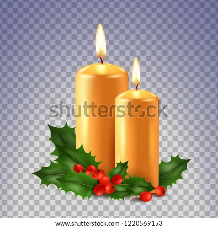 two candles and holly isolated