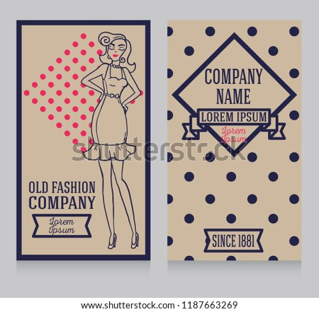 Two cards in retro american style with 1950s styled doodle woman, can be used as retro party invitation or as flyer for pin up shop, vector illustration