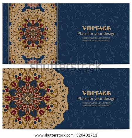 Two cards with a pattern in oriental style round ornament with Damascus and Arab elements