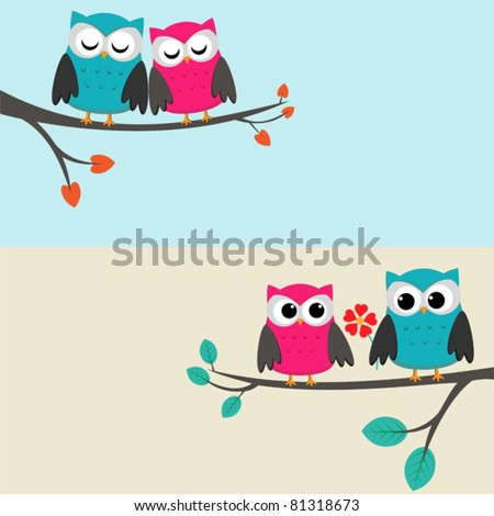 Two cards with couples of owls sitting on branches. Nice elements for scrapbook, greeting cards, invitations, Valentine's cards etc.