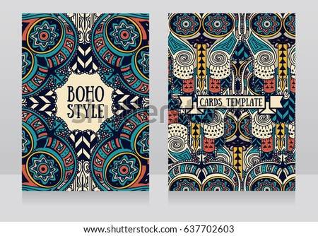 two cards with ethnic ornament
