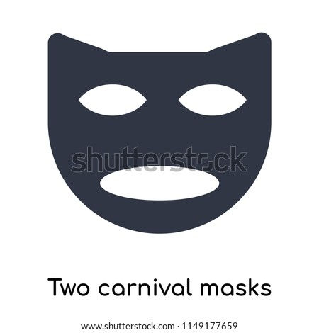 two carnival masks icon vector