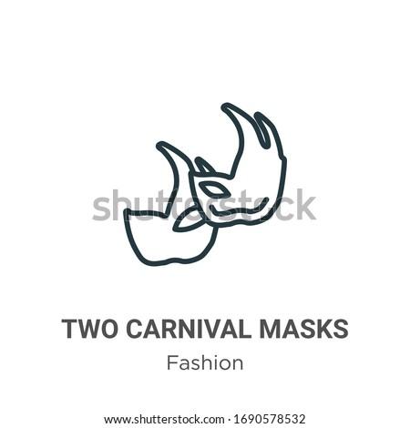 two carnival masks outline