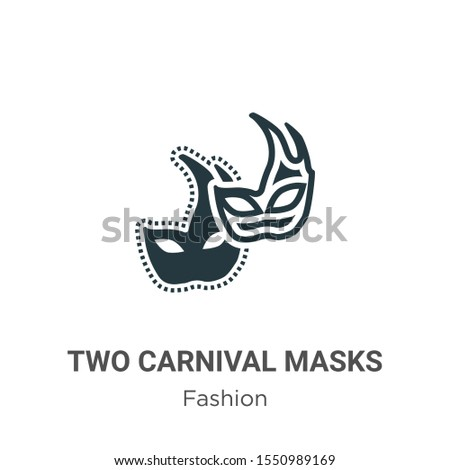 two carnival masks vector icon
