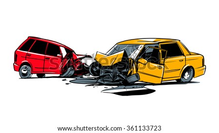 two cars involved in a car...
