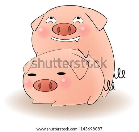 two cartoon animal couple pigs
