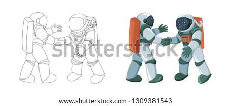 two cartoon astronauts meeting