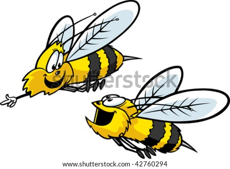 Two cartoon bees flying about. Layered vector file.
