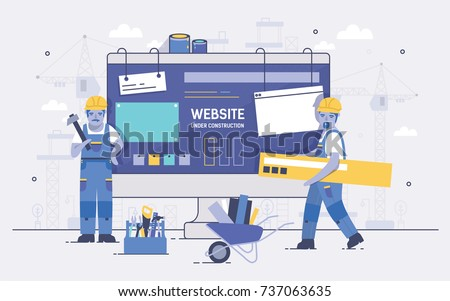 Two cartoon builders holding and carrying repair tools against computer screen on background. Concept of website under construction, web page maintenance or error 404. Colorful vector illustration.