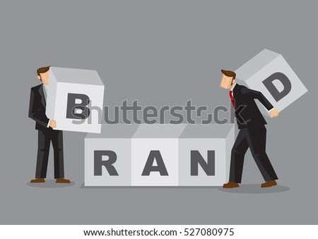 Two cartoon business professionals carry huge building block to form word BRAND. Creative vector illustration for branding and brand building for business concept isolated on grey background.