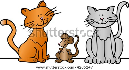 Two cartoon cats and a mouse - vector illustration