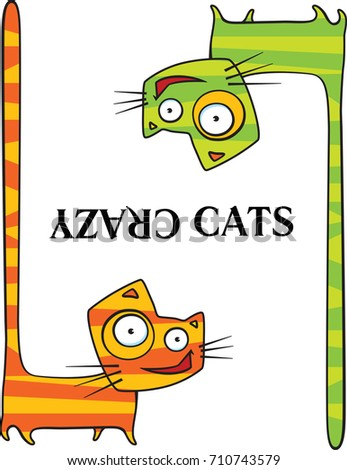 two cartoon crazy cats with